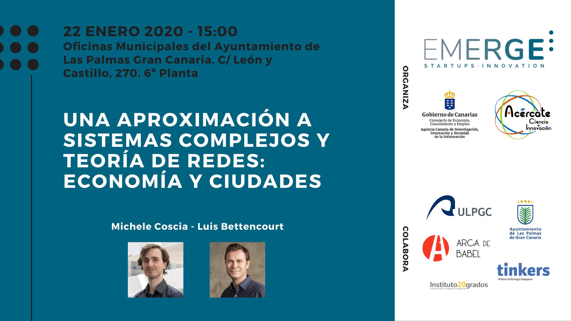 Cartela del evento organizado por EMERGE sobre economía y ciudades