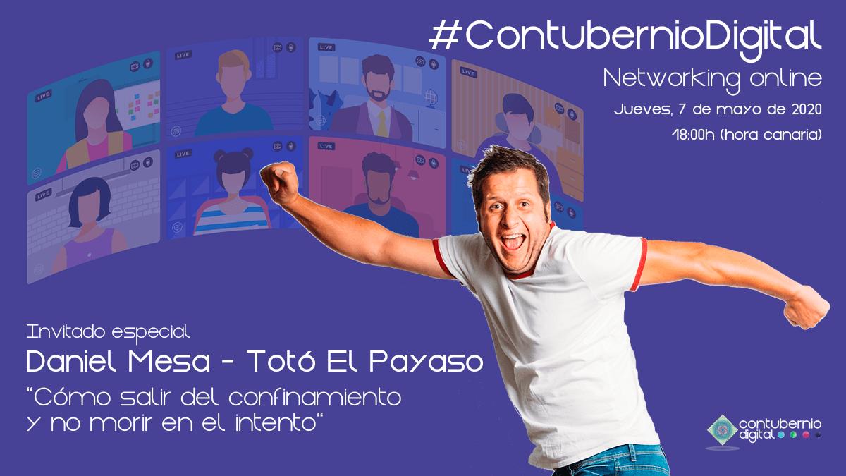 Cartela #ContubernioDigital con Totó El Payaso