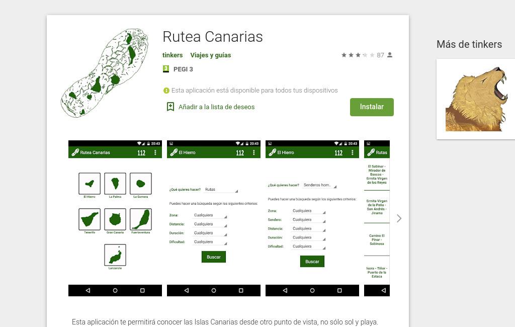 Ficha en Google Play de Rutea Canarias